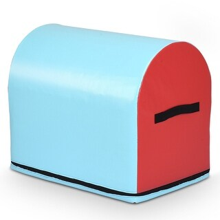 Gymax Mailbox Tumbling Trainer for Kids Tumbling Aid Jumping Box at Home Exercise Gym - light red, sky blue
