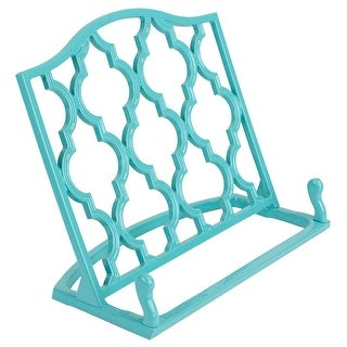 Home Basics Cast Iron Moroccan Lattice Cookbook Stand, 10.5x5.5x9 Inches - N/A