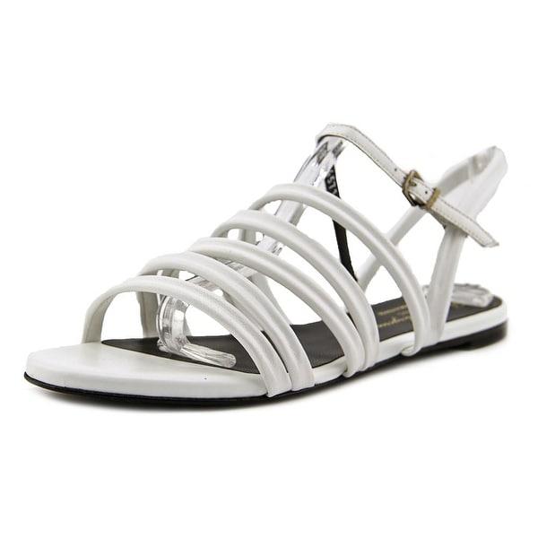 Robert Clergerie Gaga Women Open-Toe Leather White Slingback Sandal