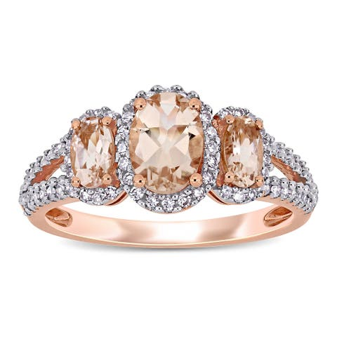 Miadora 14k Rose Gold Oval-cut Morganite and 1/3ct TDW Diamond 3-Stone Halo Engagement Ring