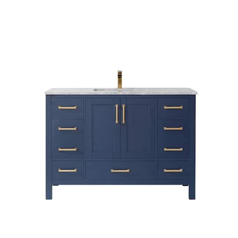 """Shannon 48"""" Single Vanity in Royal Blue and Composite Carrara White Stone Countertop Without Mirror"""