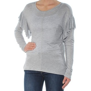 TWO Womens Gray Ruffled Long Sleeve Scoop Neck Top  Size: XS