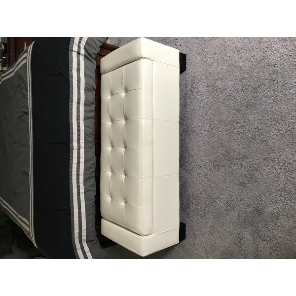 Guernsey Ivory Bonded Leather Storage Ottoman Bench By Christopher Knight  Home   Free Shipping Today   Overstock.com   12683155