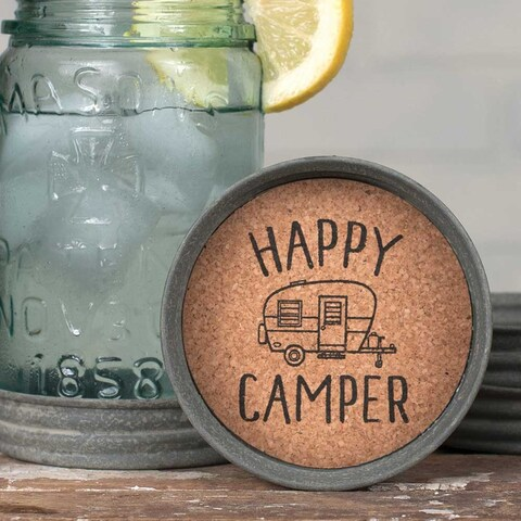Mason Jar Lid Coaster - Happy Camper -4Pack