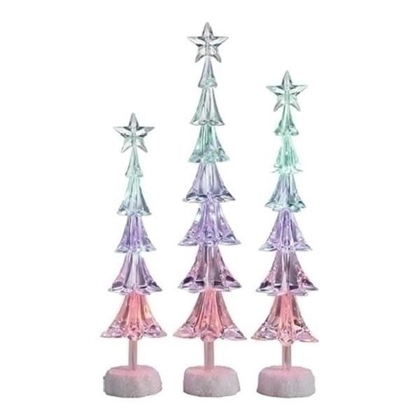 Set of 3 Icy Crystal LED Slim Christmas Tree with Star Christmas Table Top Figures 16""