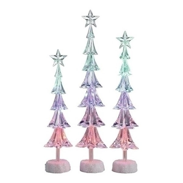 "Set of 3 Icy Crystal LED Slim Christmas Tree with Star Christmas Table Top Figures 16"" - CLEAR"