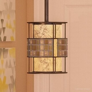 "Luxury Art Deco Hanging Pendant Light, 8.5""H x 6""W, with Moroccan Style, Copper Revival Finish"