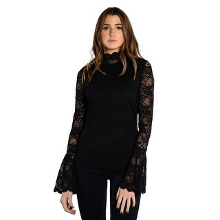 Vince Camuto Bell Sleeve Mock Neck Stretch Lace Top In Black