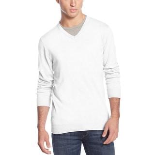 American Rag Lightweight Cotton V-Neck Sweater Alaskan Snow White XX-Large - 2XL