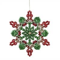 "6"" Red, Green and Gold Glitter Snowflake Christmas Ornament - RED"