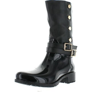 Lucky Top Rainy-30K Children Girl's Double Buckle Two Tone Knee High Rain Boots - Black