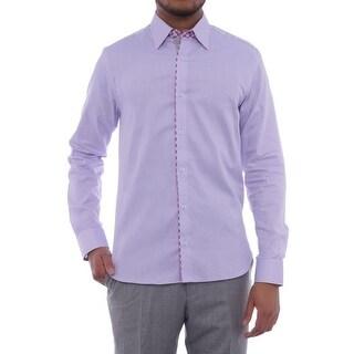 Stone Rose Long Sleeve Collared Dress Shirt Men Regular Dress Button