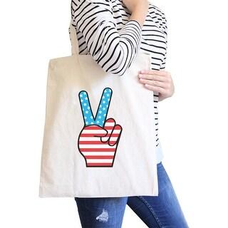 Peace American Flag Design Eco Bag Cute Peace Sign Canvas Tote Bag - White