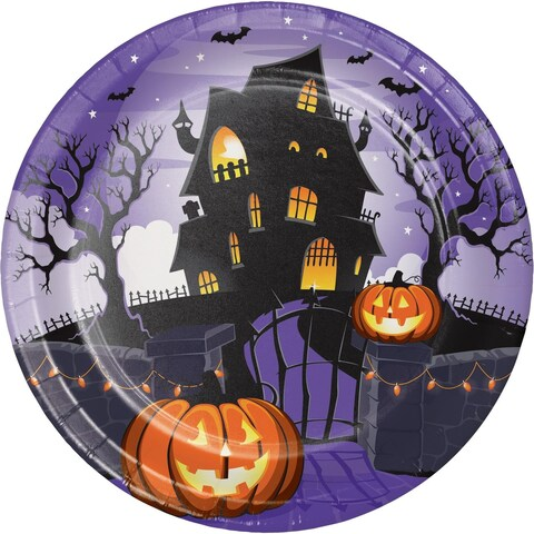 """Pack of 96 Orange and Black Halloween Haunted House Themed Disposable Paper Plates 8.75"""""""