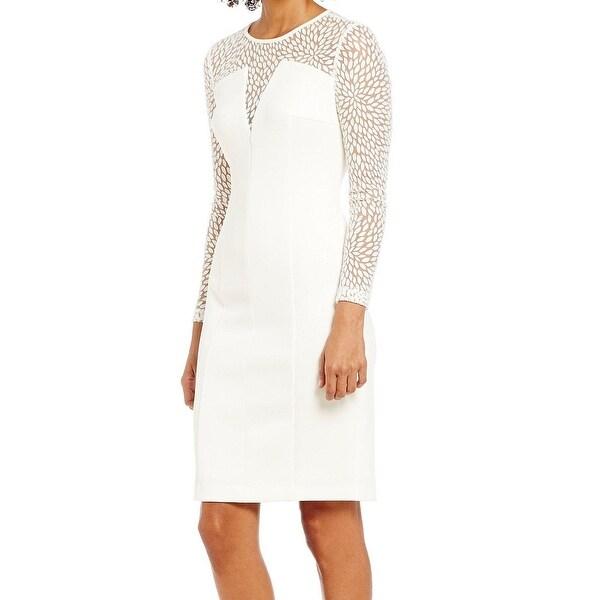 Calvin Klein New White Llusion Sheer Women X27 S 14 Scuba Sheath Dress