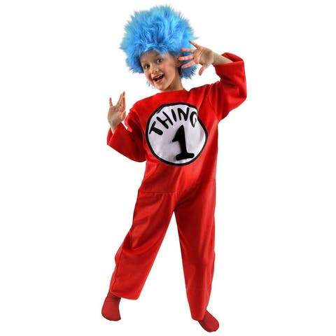 Dr. Seuss Thing 1&2 Kids Deluxe Costume Jumpsuit and Wig - Red