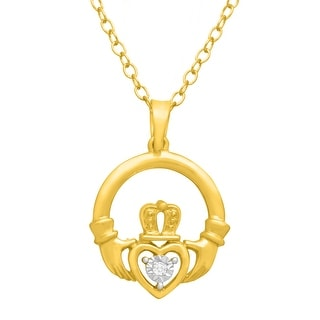Claddagh Pendant with Diamond in 14K Gold-Plated Sterling Silver
