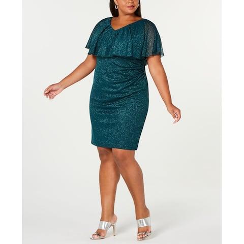 CONNECTED APPAREL Womens Sheath Dress Hunter Green Size 18W Plus Ruffle
