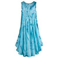 Catalog Classics Women's Tie-Dye Dress - Ocean Blue Knee-Length Sleeveless