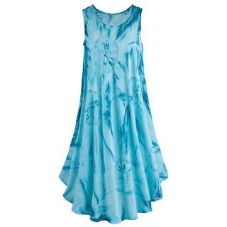 Catalog Classics Women's Tie-Dye Dress - Ocean Blue Knee-Length Sleeveless