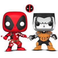 Funko Pop! Marvel: Holiday - Deadpool W/ Candy Canes and Funko Pop! X-Men - Colossus [Chrome] L.A. Comic Con Exclusive (2 Items)
