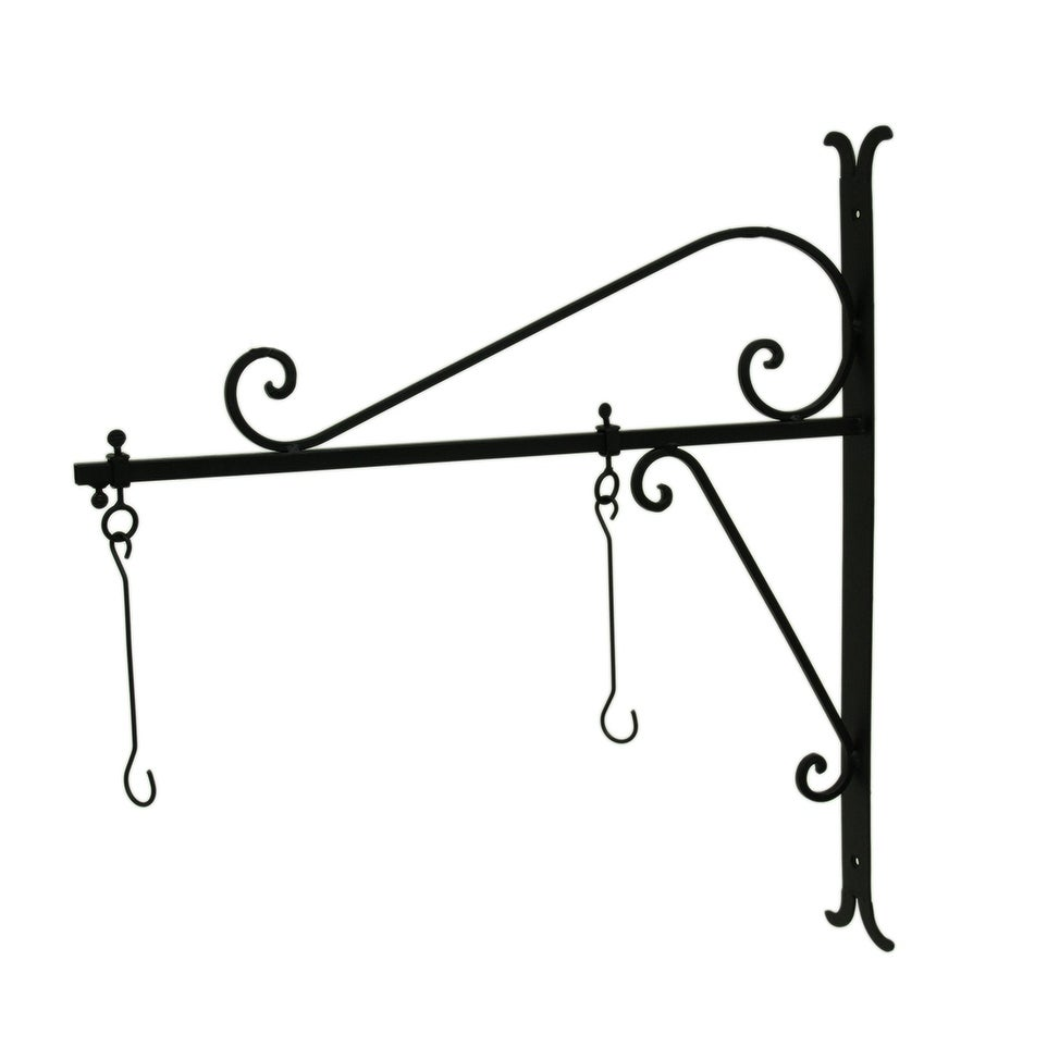 Black Powder Coated Adjustable Metal Wall Mount Hanging Scroll Bracket - 24 X 23 X 1.5 inches