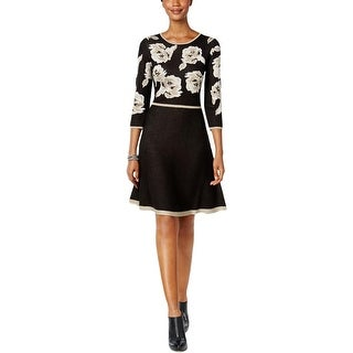 Jessica Howard Womens Sweaterdress Woven Roses Long Sleeves