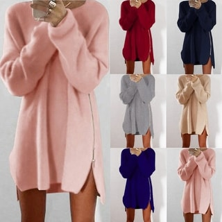 Loose Tunic Knit Pullover Sweater Dress Jumper