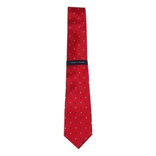 Tommy Hilfiger Men's Jacquard Dot Twill Silk Tie (Red, OS) - os