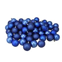 "60ct Lavish Blue Shatterproof 4-Finish Christmas Ball Ornaments 2.5"" (60mm)"