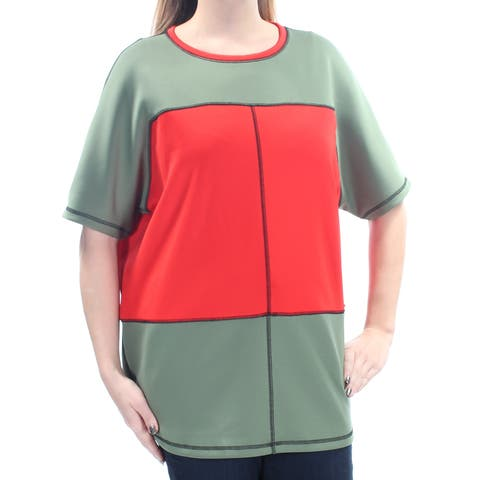 ANNE KLEIN Womens Green Color Block Short Sleeve Jewel Neck Top Size: L
