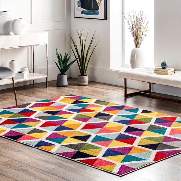 nuLOOM Multi-color Contemporary Triangle Mosaic Area Rug. Opens flyout.