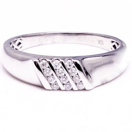 Mens Diamond Wedding Band 10K White Gold 0.12cttw Comfort Fit 6mm Wide