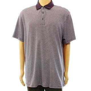 Michael Kors NEW Purple Plum Mens XL Striped Short Sleeve Polo Shirt
