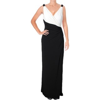 Lauren Ralph Lauren Womens Evening Dress Two Tone Surplice