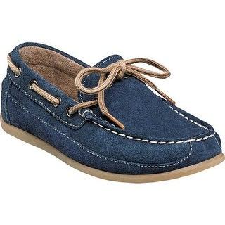 Florsheim Boys' Jasper Tie Boat Shoe Jr. Navy Suede