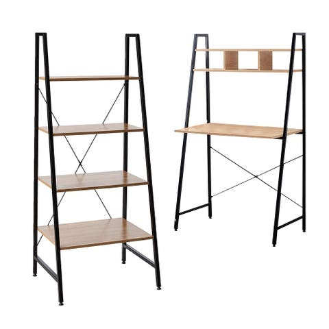 Offex Combo Pack - Black Steel Frame Ladder Style Wooden Desk with 4 Shelf Bookcase