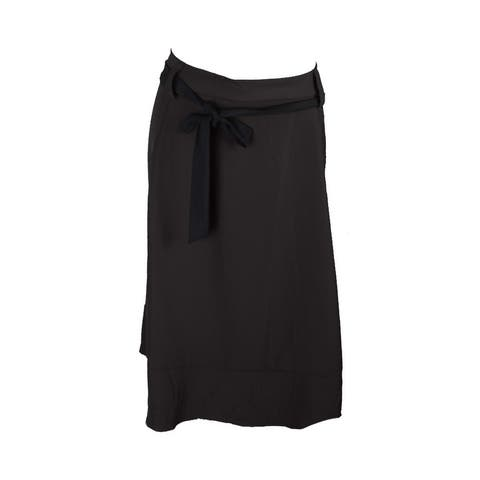 Ny Collection Plus Size Black Waist Tie Midi Skirt 1X