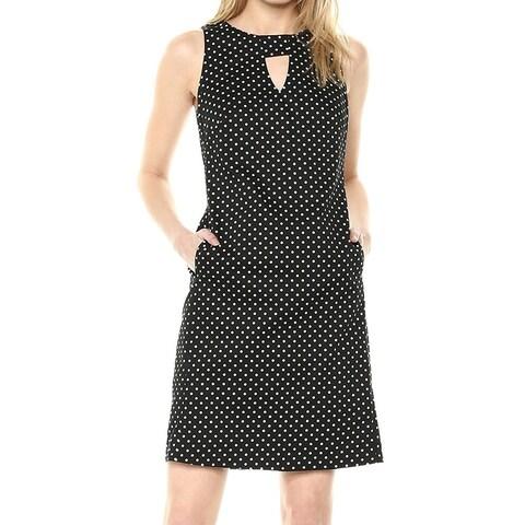 Nine West Black Polka Dot Keyhole Women's Size 16 Shift Dress