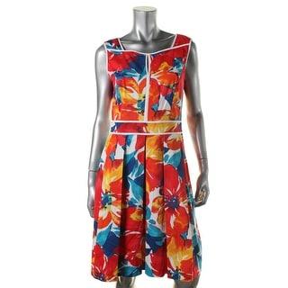 Ellen Tracy Womens Floral Print Sleeveless Wear to Work Dress
