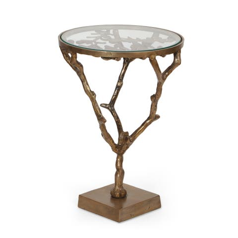 Broadwater Boho Glam Handcrafted Aluminum Floral Accent Table with Glass Top by Christopher Knight Home