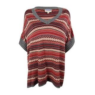 Freshman Juniors' V-Neck Striped Poncho Sweater - m