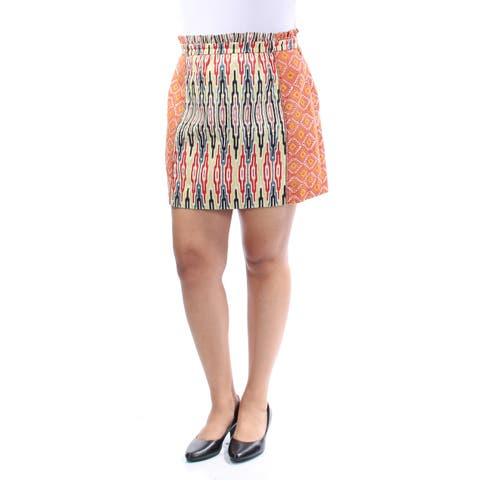RACHEL ROY Womens Orange Printed Mini A-Line Skirt Size: 12