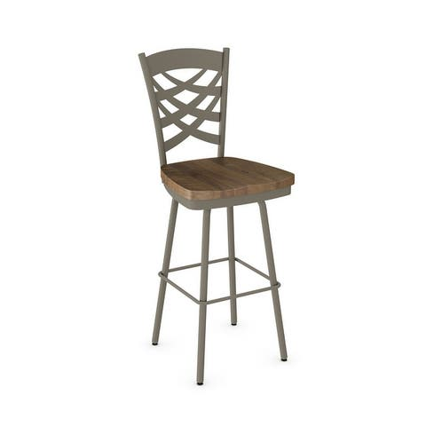 Amisco Weaver Swivel Counter Stool with Distressed Wood Seat