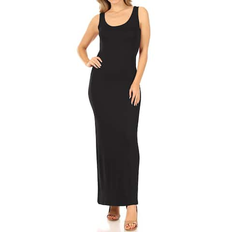 Casual Round Neck Solid Sleeveless Pull On Tank Slim Maxi Dress