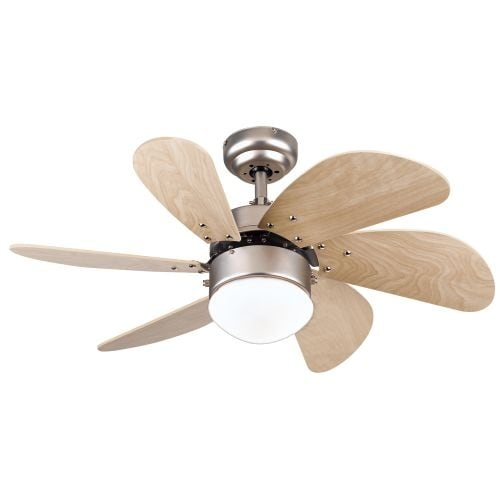 """Westinghouse 7814465 Turbo Swirl 30"""" 6 Blade Hanging Indoor Ceiling Fan with Reversible Motor, Blades, Light Kit, and Down Rod"""