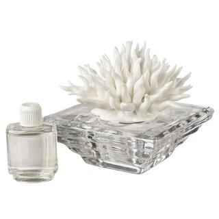 Debora Carlucci Italian Crystal Aroma Diffuser with Porcelain Coral Top. Aria Mediterranea Scent (Option: Diffusers - WHITE)