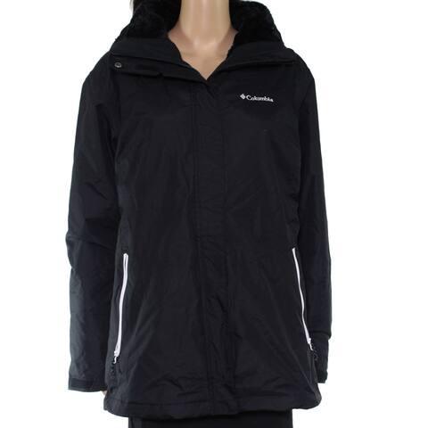 Columbia Womens Jacket Black Size 1X Plus Fleece Logo Full Zip Hooded