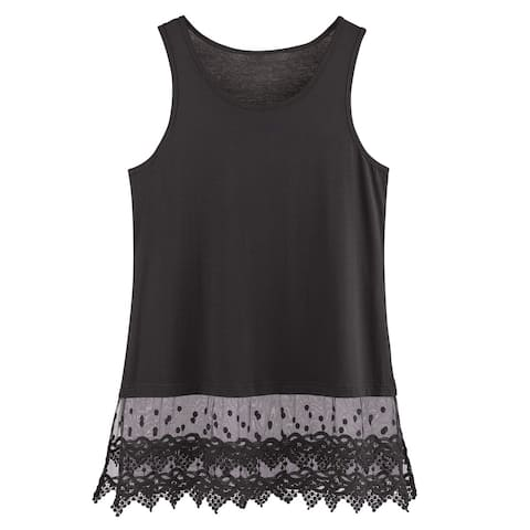 Women's Lace Trim Layering Tunic Tank Top - Extends Shirt Blouse Length - 30