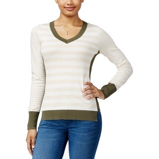 Pink Rose Womens Juniors Pullover Sweater Contrast Trim Striped